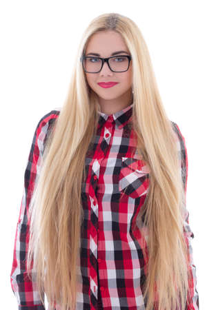 beautiful girl in eyeglasses with long hair isolated on white background photo