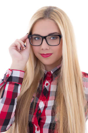 portrait of beautiful girl in eyeglasses with long hair isolated on white background photo