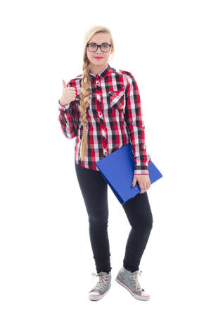 beautiful teenage girl in eyeglasses with book in her hand thumbs up isolated on white background photo