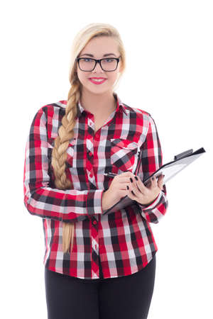 beautiful schoolgirl in eyeglasses with folder in her hand isolated on white background photo