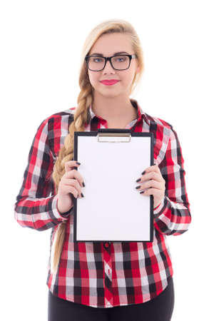 attractive teenage girl in eyeglasses holding empty blank in her hand isolated on white background photo