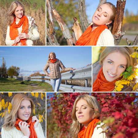 collage of beautiful woman walking in autumn park photo