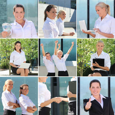 Collage of business women posing on the street photo
