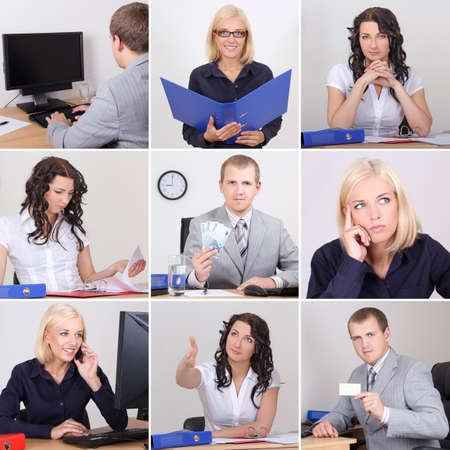 Collage of young business people working in office photo
