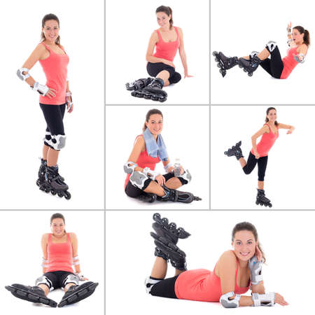 collage of young attractive sporty woman on roller skates isolated on white background photo