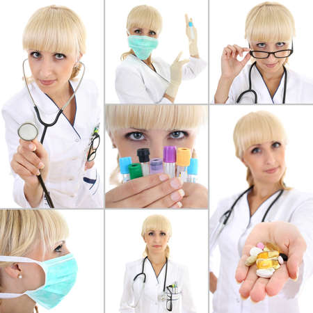 collage of young female doctor isolated on white photo