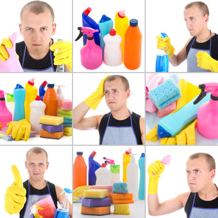 collage of young man doing cleaning work photo