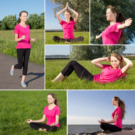 collage of young sporty woman working out in a park photo