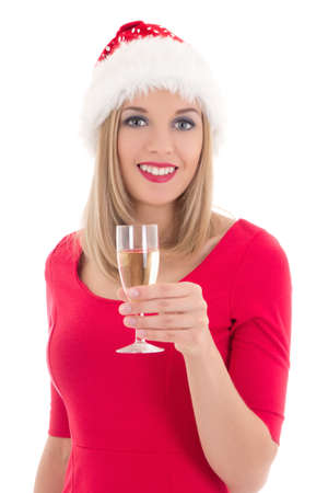 beautiful young christmas woman with glass of champagne isolated on white photo