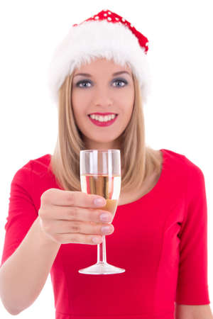 beautiful young christmas woman with glass of champagne isolated on white background photo