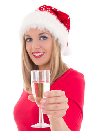 beautiful young woman with glass of champagne isolated on white background. focus on glass photo