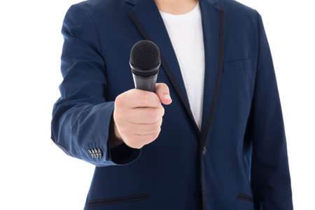 news reporter journalist interviews a person holding up the microphone isolated on white photo