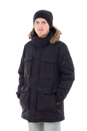 Fashion portrait of young handsome man in black winter jacket isolated on white photo