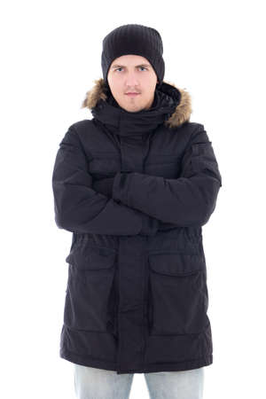 portrait of young attractive man in black winter jacket isolated on white background photo