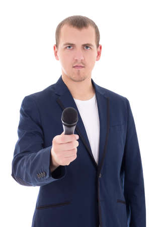 news reporter journalist interviews a person holding up the microphone isolated on white background photo