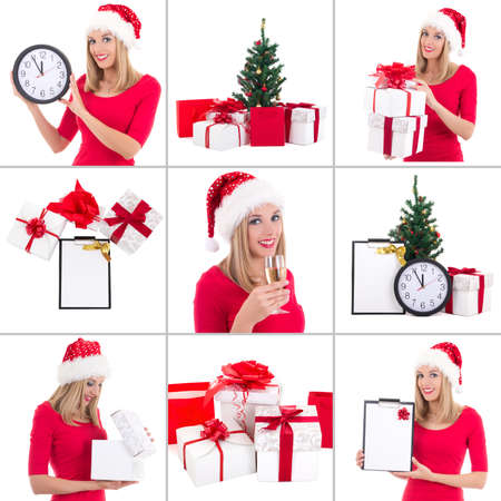 christmas collage. beautiful woman with gift boxes, clock and champagne over white photo