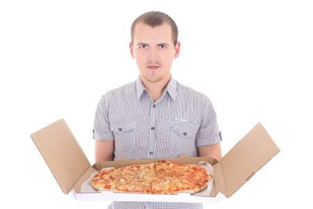 young man with big pizza isolated on white background
