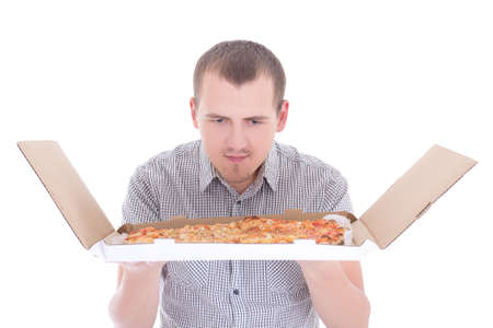 young attractive man with big pizza isolated on white background
