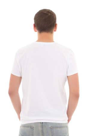 back view of white t-shirt on a young man isolated photo