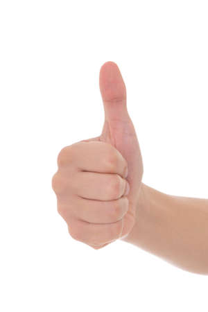 male hand thumbs up isolated on white background photo