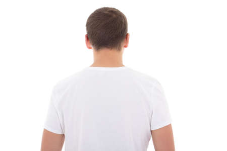 back view of white t-shirt on a man isolated over white background photo