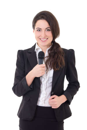 beautiful female reporter with microphone isolated on white background photo