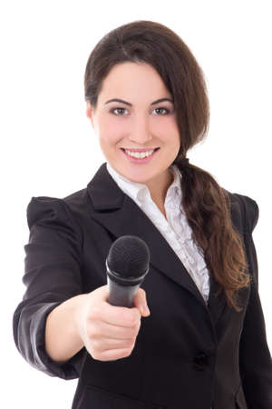 young beautiful female reporter with microphone isolated on white background photo