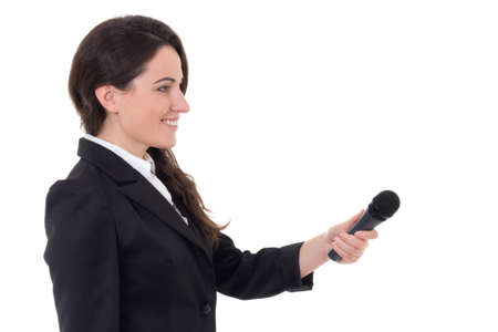 young female journalist with microphone isolated on white background photo