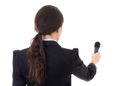 female journalist with microphone isolated on white background Stock Photo