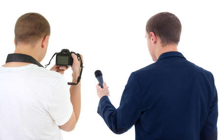 reporter with microphone and photographer with camera isolated on white photo