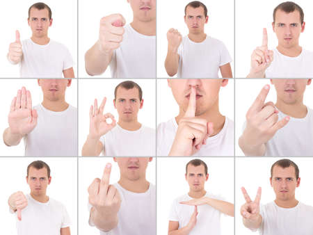 collage of young man gesturing isolated on white background photo