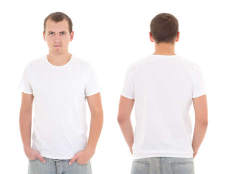 young attractive man in white t-shirt isolated on white background photo