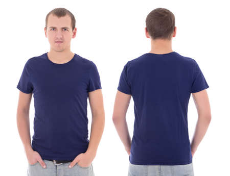 young attractive man in blue t-shirt isolated on white background photo
