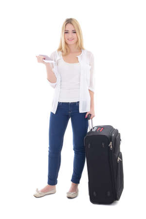 young attractive blondie woman with suitcase, passport and ticket isolated on white background photo