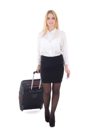 young attractive business woman with suitcase isolated on white background photo