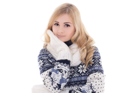 young attractive woman posing in winter clothes  photo