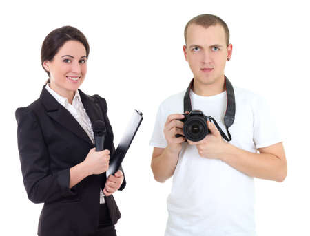 female journalist with microphone and operator with camera isolated on white  photo
