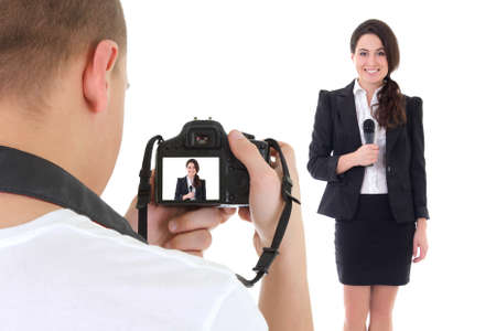 filming: operator with camera and female reporter with microphone isolated on white