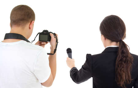 back view of woman with microphone and man with camera isolated on white  photo
