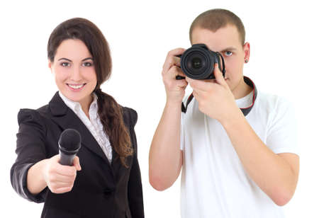 woman with microphone and man with camera isolated on white  photo