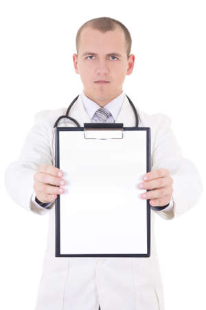 young handsome doctor showing folder with copy space for text isolated on white background photo