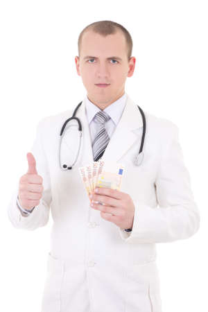 young handsome doctor with euro banknotes thumbs up isolated on white background photo