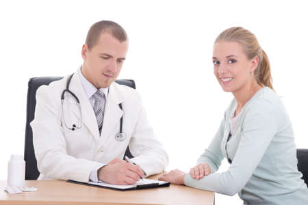 young doctor explaining diagnosis to her female patient isolated on white photo