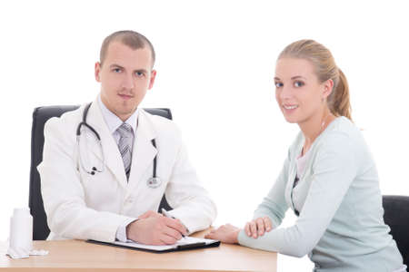 young doctor and female patient isolated on white background photo