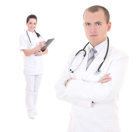 collegue: young male doctor and attractive female nurse isolated on white background
