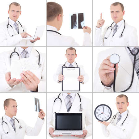 collage of young handsome doctor isolated on white background photo