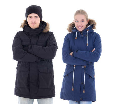 attractive man and woman in winter clothes isolated on white background photo
