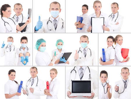 collage of young doctors at work isolated on white photo