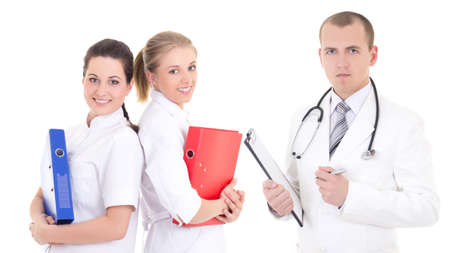 collegue: male doctor and two young nurses isolated on white background