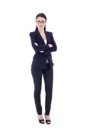 mujer cuerpo completo: joven atractiva mujer de negocios aislados sobre fondo blanco Foto de archivo